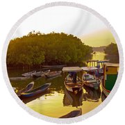 Sunrise Over Gambian Creek Round Beach Towel