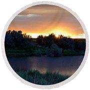 Sunrise Over Kinney Lake Round Beach Towel by Clarice  Lakota