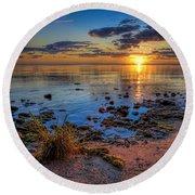 Sunrise Over Lake Michigan Round Beach Towel by Scott Norris