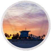 Sunrise Over Venice Beach Round Beach Towel by Art Block Collections