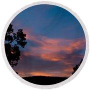 Sunrise Over Mammoth Campground Round Beach Towel