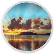 Sunrise Over Marine Corps Base Hawaii Round Beach Towel