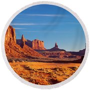 Sunrise Over Monument Valley Round Beach Towel