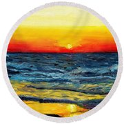 Round Beach Towel featuring the painting Sunrise Over Paradise by Shana Rowe Jackson