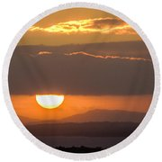 Sunrise Over River Shannon Round Beach Towel