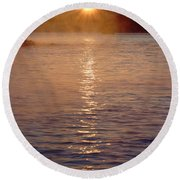 Sunrise Over Table Rock Round Beach Towel