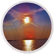 Round Beach Towel featuring the photograph Sunrise Over The Big Mac by Daniel Thompson