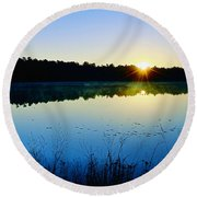 Sunrise Over The Lake Round Beach Towel