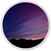 Sunrise Over The Mountains Round Beach Towel
