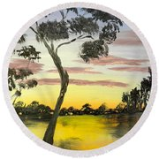 Sunrise Over The Murray River At Lowson South Australia Round Beach Towel