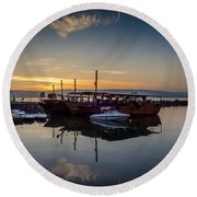 Sunrise Over The Sea Of Galilee Round Beach Towel