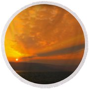 Sunrise Over The Sea Of Galilee Round Beach Towel