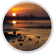 Round Beach Towel featuring the photograph Sunrise Photograph by Meg Rousher