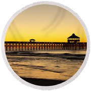 Sunrise Pier Folly Beach Sc Round Beach Towel