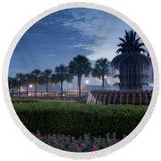 Sunrise Pineapple Fountain Round Beach Towel