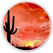 Sunrise Saguaro National Park Round Beach Towel