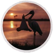 Sunrise Silhouette Of Stork Carrying Round Beach Towel