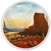Sunrise Stampede Round Beach Towel by Marilyn Smith