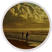 Round Beach Towel featuring the photograph Sunrise Surf Fishing by Ed Sweeney