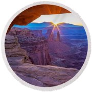 Sunrise Through Mesa Arch Round Beach Towel