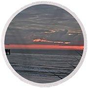 Sunrise Through Storm Round Beach Towel