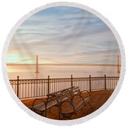 Sunrise To The Bay Round Beach Towel by Jonathan Nguyen