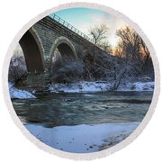 Sunrise Under The Bridge Round Beach Towel