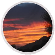 Sunrise With Lone Sentinel Over Desert Round Beach Towel