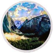 Sunrise Yosemite Valley Nationalpark Round Beach Towel