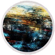 Round Beach Towel featuring the digital art Sunset 083014 by David Lane