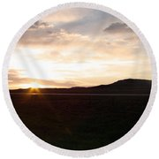 Round Beach Towel featuring the photograph Sunset Across I 90 by Cathy Anderson