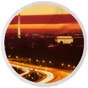 Sunset, Aerial, Washington Dc, District Round Beach Towel