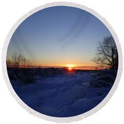 Sunset After The Snow Round Beach Towel by Robert Nickologianis
