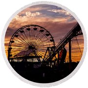 Sunset Amusement Park Farris Wheel On The Pier Fine Art Photography Print Round Beach Towel by Jerry Cowart