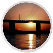 Round Beach Towel featuring the photograph Sunset And Bridge by Debra Forand