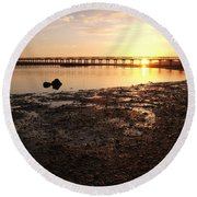 Sunset And Wooden Bridge In Ludo Round Beach Towel