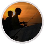 Sunset Anglers Round Beach Towel