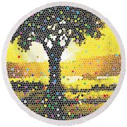 Round Beach Towel featuring the painting Sunset Beauty by Anthony Mwangi