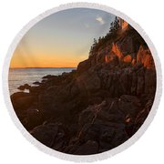 Sunset At Bass Head   Round Beach Towel by Priscilla Burgers