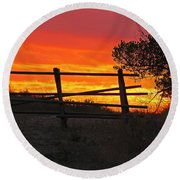 Round Beach Towel featuring the photograph Sunset At Bear Butte by Mary Carol Story