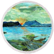 Sunset At Bic Round Beach Towel