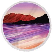 Sunset At Black Rock Maui Round Beach Towel