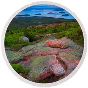 Sunset At Cadillac Mountain Round Beach Towel