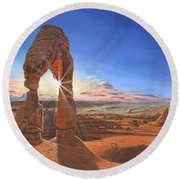 Sunset At Delicate Arch Utah Round Beach Towel by Richard Harpum