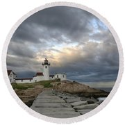 Sunset At Eastern Point Lighthouse Round Beach Towel