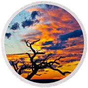 Sunset At Enchanted Rock Round Beach Towel