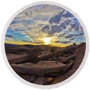 Sunset At Enchanted Rock State Natural Area Round Beach Towel