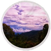 Sunset At Gorges State Park Round Beach Towel