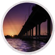 Sunset At Jensen Beach Round Beach Towel by Fran Gallogly