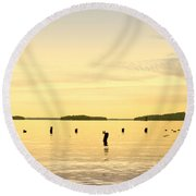 Round Beach Towel featuring the photograph Sunset At Lake Muskoka by Les Palenik